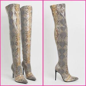 NWT snakeskin stretch OTK heeled boots